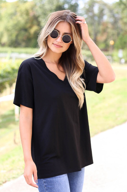Black - V-Neck Basic Tee Side View