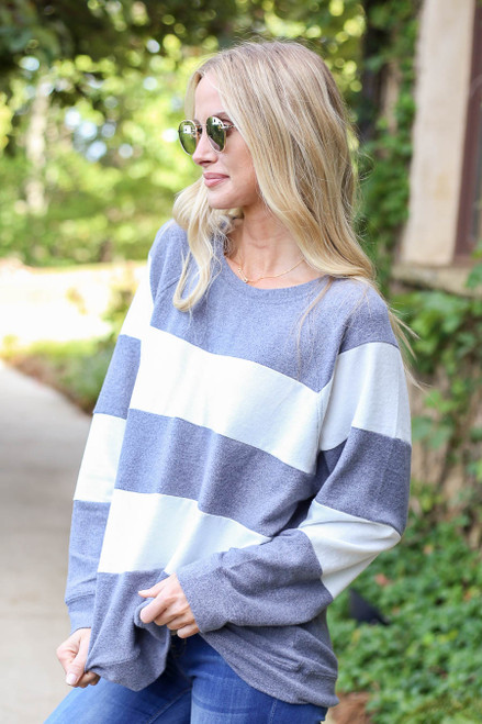 Grey - and White Striped Pullover Side View