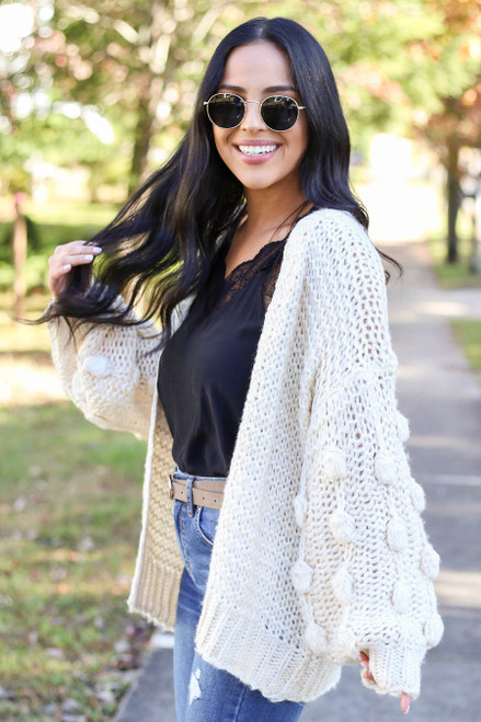 Ivory - Pom Pom Cardigan Sweater Side View