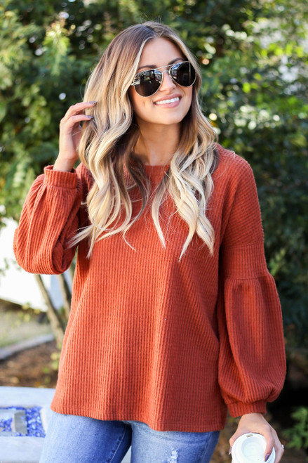 Rust - Balloon Sleeve Waffle Knit Sweater