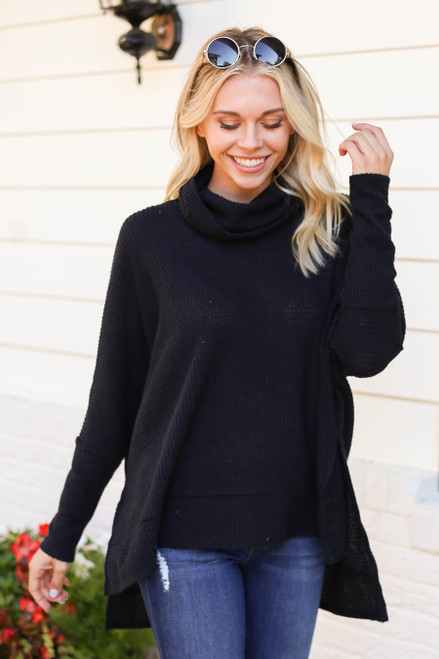 Black - Waffle Knit Cowl Neck Sweater