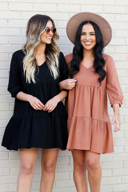 Black - and Rust Tiered Babydoll Dress