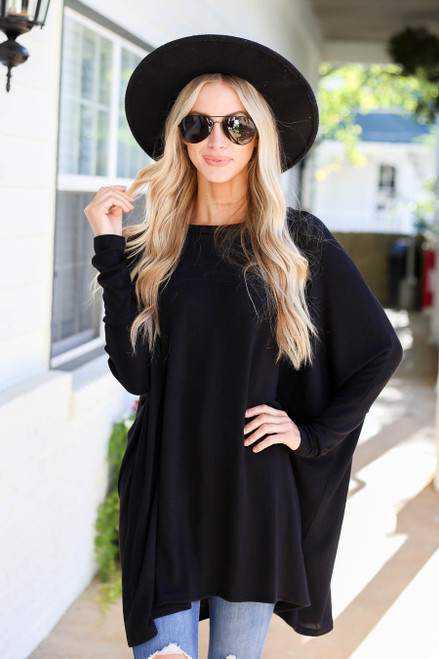 Black - Oversized Dolman Sleeve Top