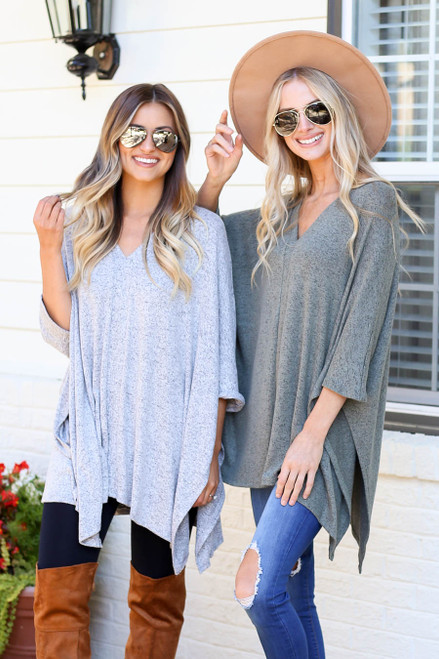 Heather Grey - and Olive Heathered Oversized Poncho