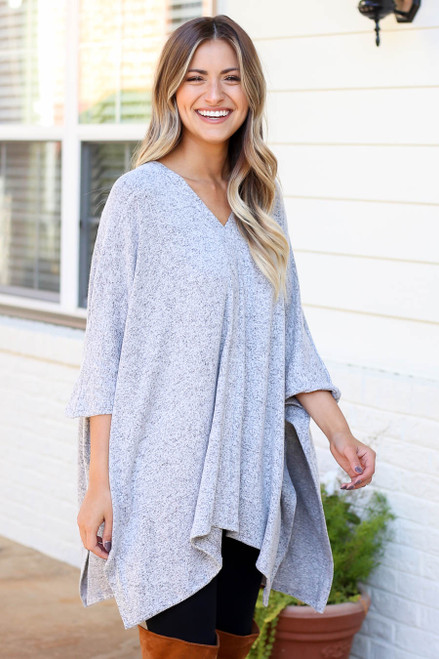 Heather Grey - Heathered Oversized Poncho Top
