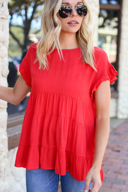 Red - Tiered Ruffle Sleeve Top