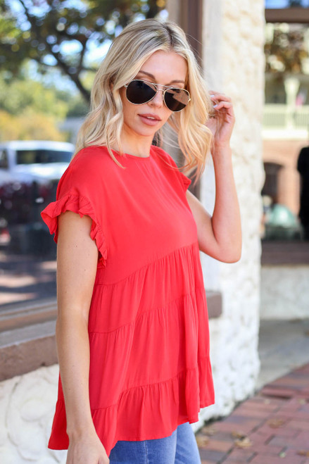 Red - Tiered Ruffle Sleeve Top Side View