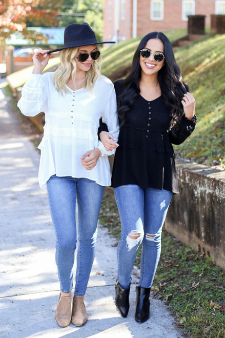 Black - and White Button Babydoll Blouse