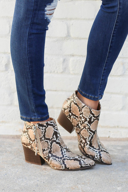 Taupe - Snakeskin Pointed Toe Ankle Booties on Model