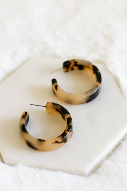 Taupe - Chunky Acrylic Tortoise Hoop Earrings