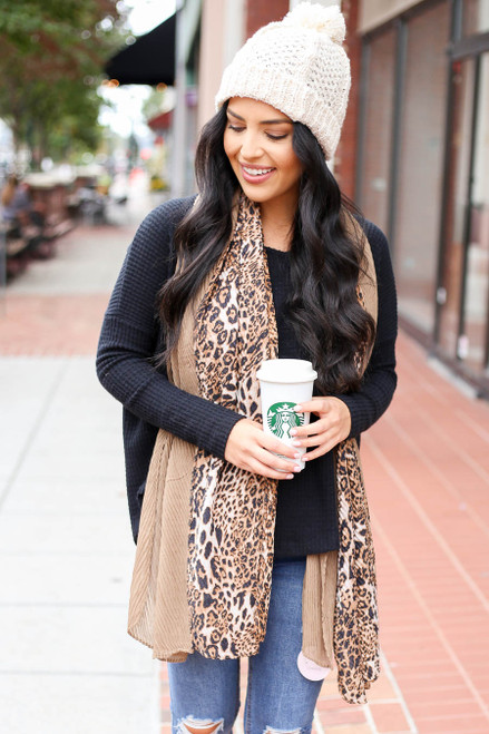 Camel - Leopard Contrast Pleated Scarf