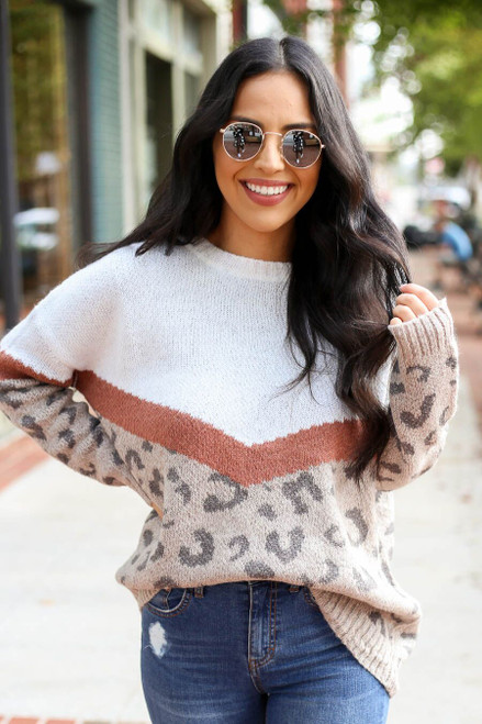 Taupe - Color Block Leopard Sweater from Dress Up Boutique