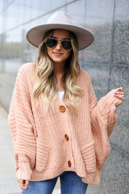 Blush - Button Front Oversized Sweater