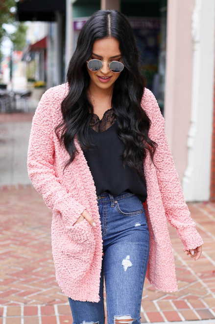 Blush - Pocketed Popcorn Knit Cardigan