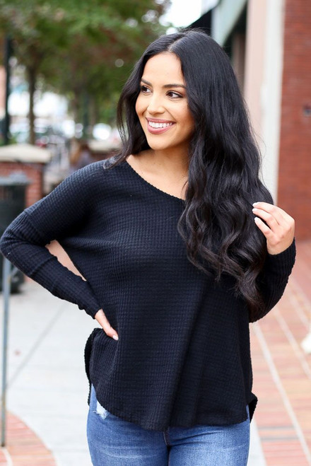 Black - Pocketed Waffle Knit Top from Dress Up Boutique