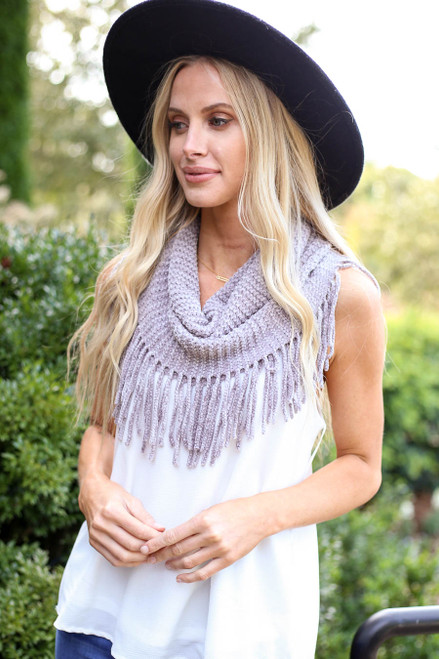 Grey - Chenille Fringe Infinity Scarf from Dress Up