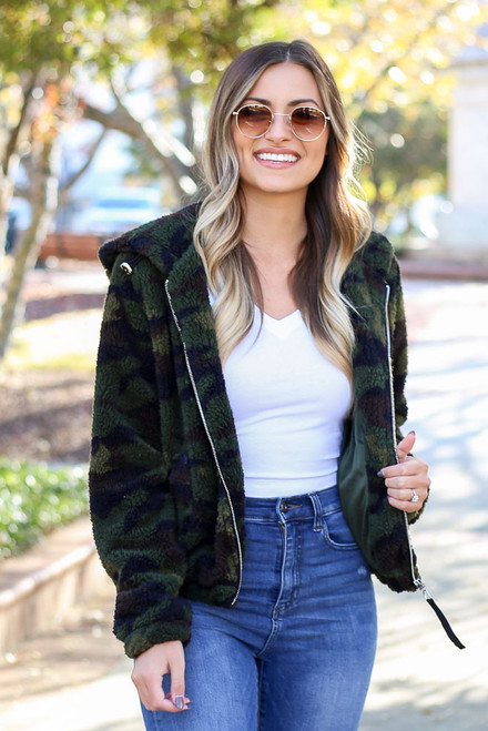 Camo - Sherpa Cropped Jacket from Dress Up