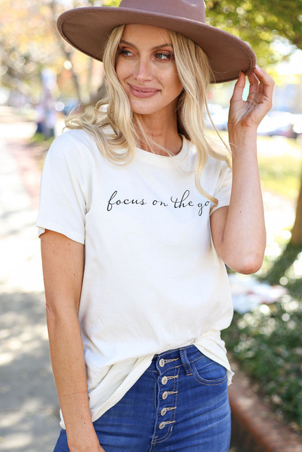 White - Focus on the Good Graphic Tee from ShopDressUp