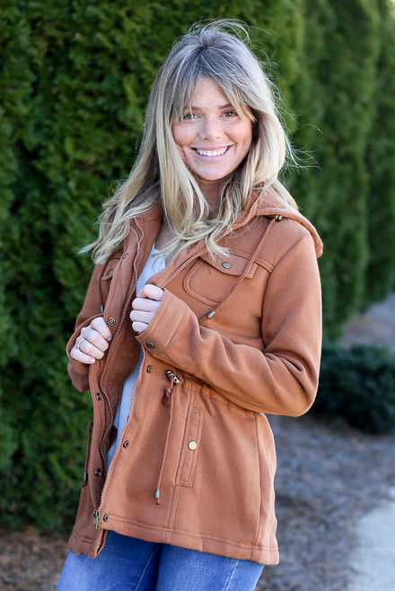 Camel - Fleece Lined Utility Jacket from Dress Up