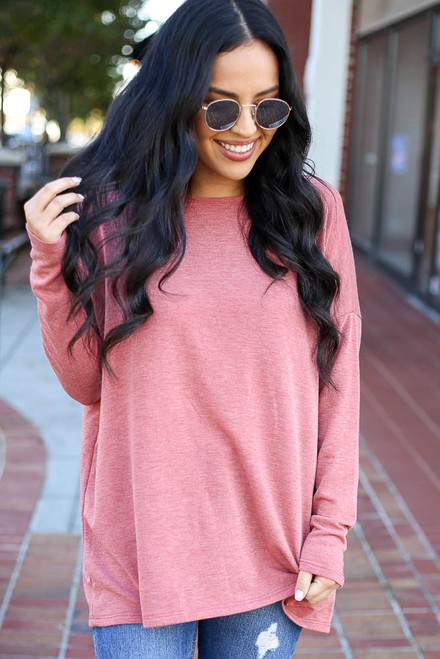 Rust - Heather Knit Oversized Top