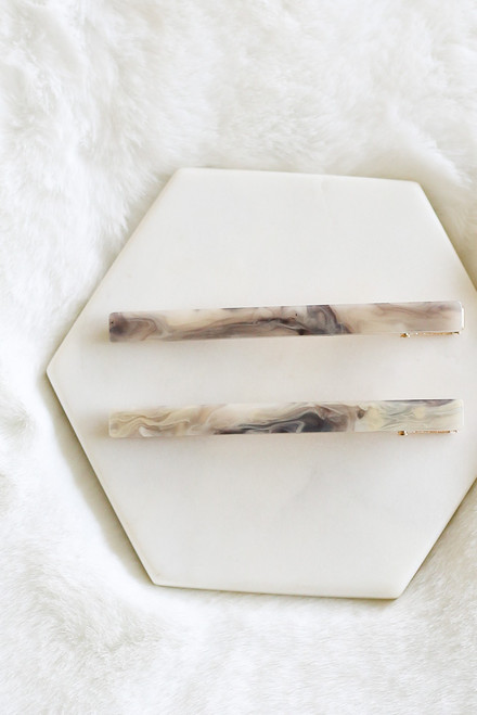 Grey - Marble Hair Pin Set from Dress Up