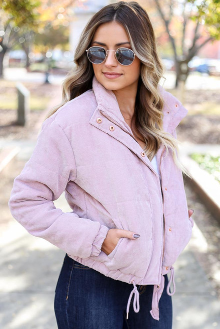 Mauve - Corduroy Puffer Jacket Side View