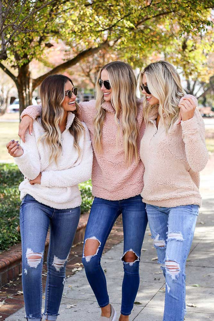 Blush - Blush and Taupe Quarter Zip Sherpa Pullover