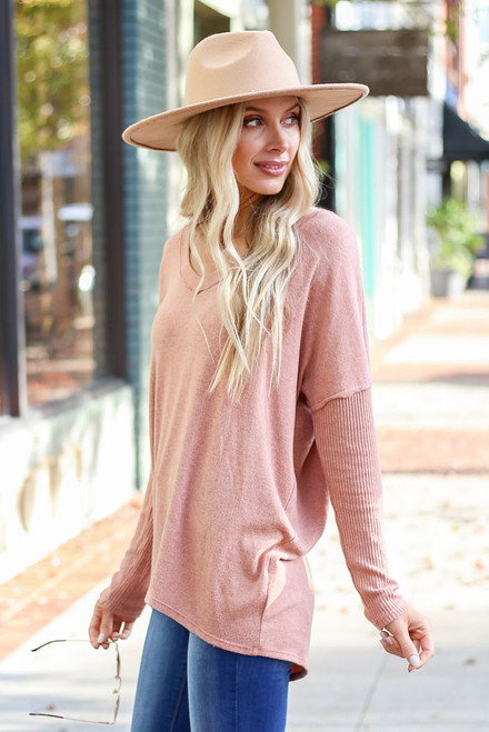 Camel - Brushed Knit Ribbed Sleeve Top Side View