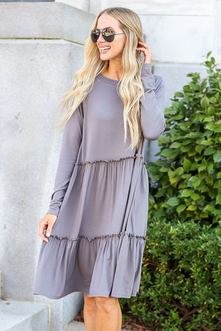 Charcoal - Tiered Long Sleeve Dress