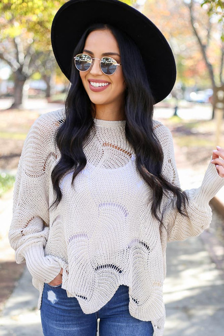 Taupe - Open Knit Sweater