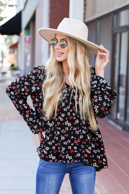 Black - Floral Wide Sleeve Blouse