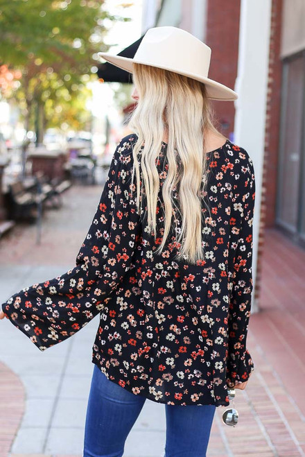 Black - Floral Wide Sleeve Blouse Back View