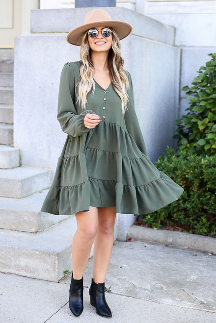 Olive - Button Front Tiered Dress Full View