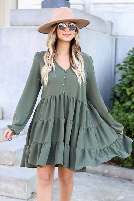 Olive - Button Front Tiered Dress