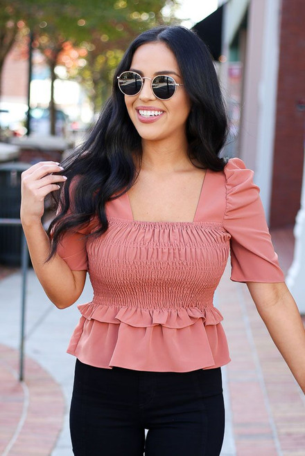 Rust - Smocked Ruffle Blouse from Dress Up
