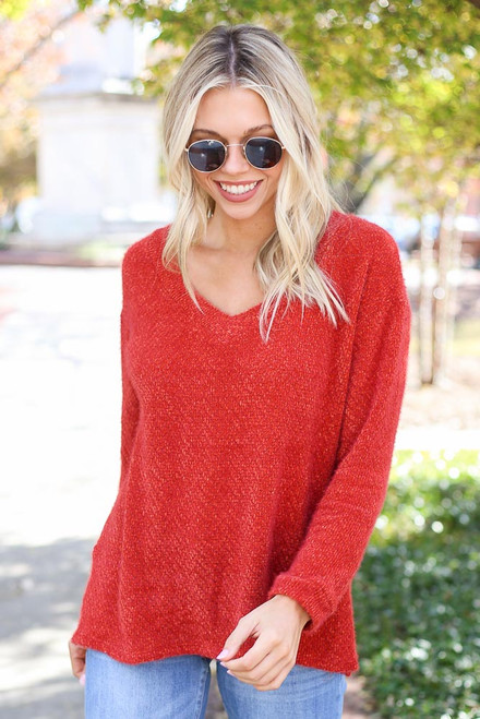 Rust - Eyelash Knit Sweater