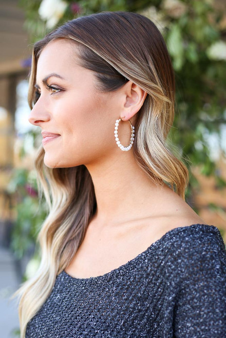 Gold - Pearl Wrapped Earrings