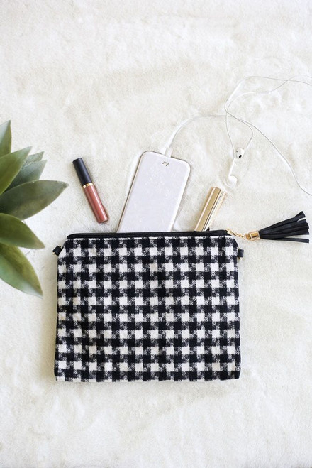 White - Houndstooth Plaid Crossbody from Dress Up Boutique