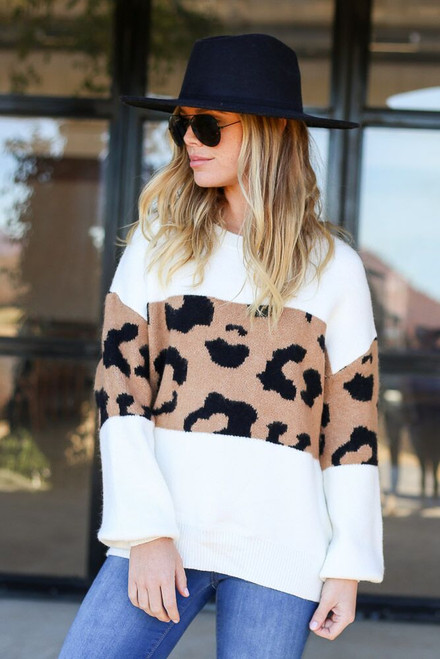 Ivory - Leopard Color Block Sweater from Dress Up