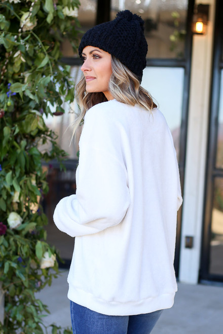 Ivory - Faux Fur Pullover Back View