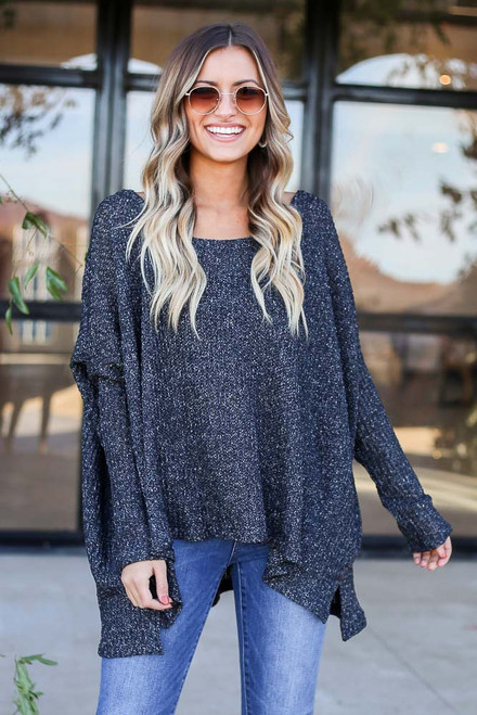 Black - Oversized Loose Knit Sweater