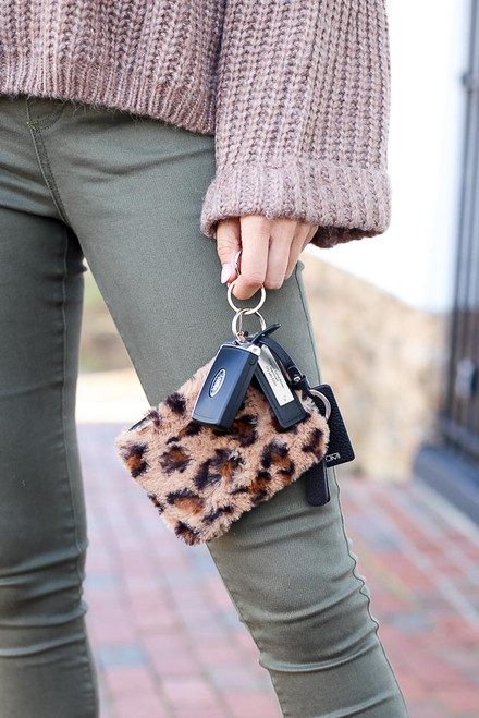 Mocha - Fuzzy Leopard Print Coin Purse with Keys