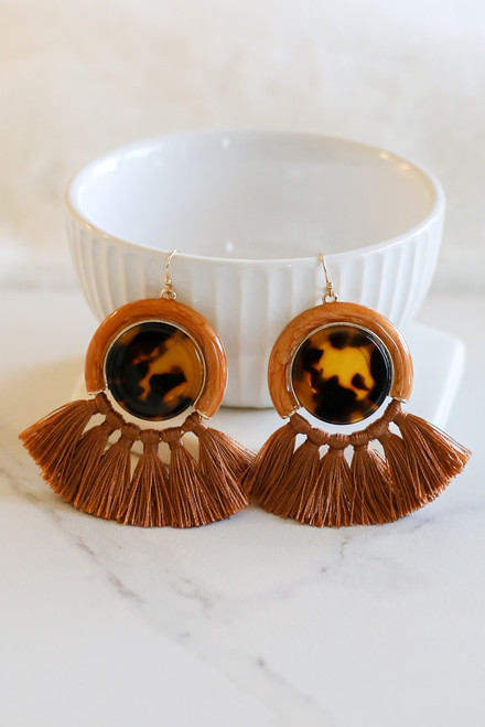 Rust - Tassel Statement Earrings Flat Lay