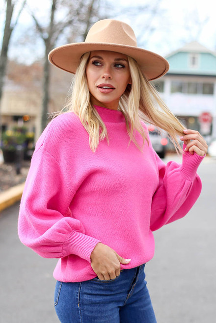 Pink - Balloon Sleeve Knit Sweater Side View