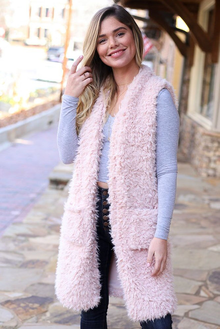 Blush - Faux Fur Vest from Dress Up