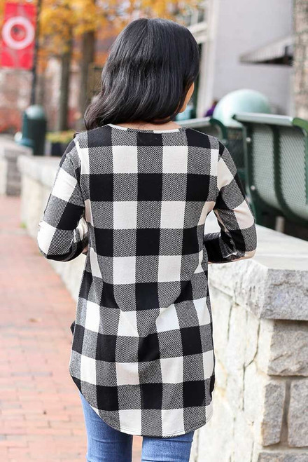 Black - Buffalo Plaid Babydoll Top from Dress Up Back View