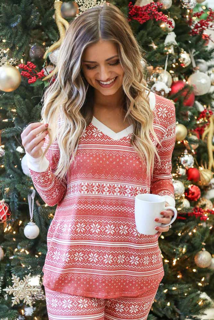Red - Fair Isle Printed V-Neck Pullover
