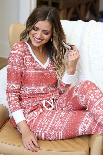 Red - Fair Isle Printed V-Neck Pullover Sitting View