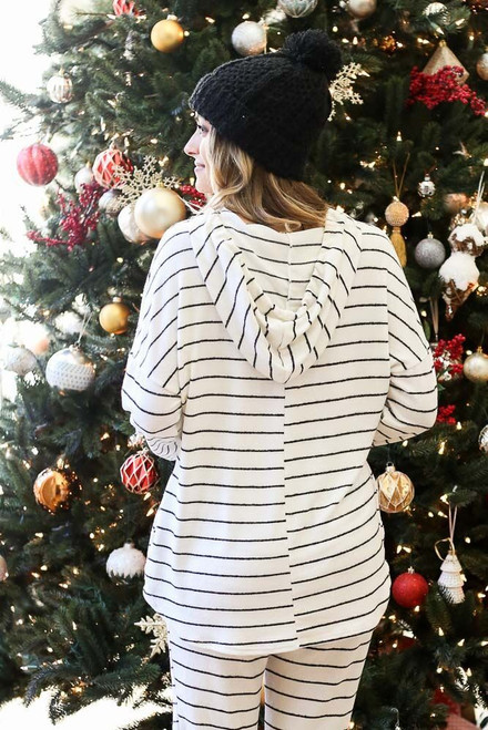 White - Striped Fleece Hoodie from Dress Up Back View