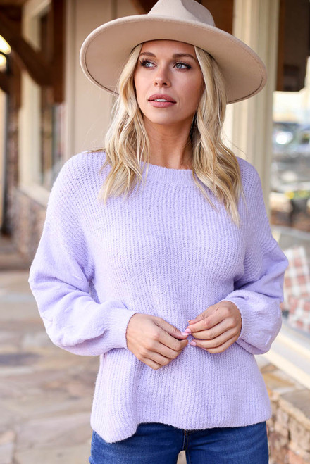 Lilac - Sadie features a loose ribbed knit body with a thick textured knit sleeve